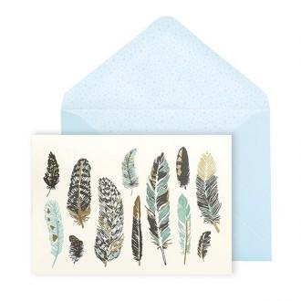 Zestaw kartek z kopertą z motywem piór