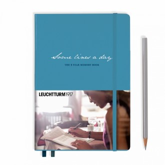 Dziennik pięcioletni Leuchtturm Some Lines A Day szaroniebieski