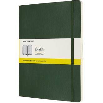 Notatnik Moleskine XL w miękkiej oprawie w kratkę zielony