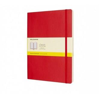 Notatnik Moleskine XL w miękkiej oprawie w kratkę czerwony
