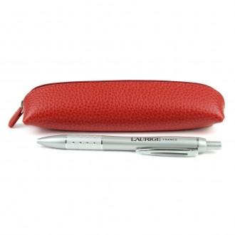 Czerwony piórnik skórzany na 3-5 długopisów