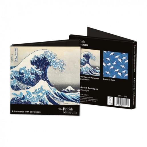 Zestaw kartek z kopertą z japońskimi drzeworytami