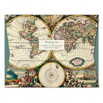 Papeteria z motywem starych map