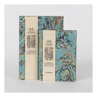 Muckross Bindery notes A6 w marmurkowej oprawie niebieski gładki